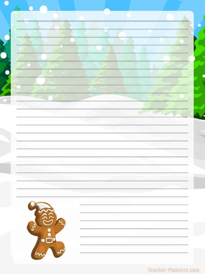 Gingerbread Man FREE Christmas Writing Paper