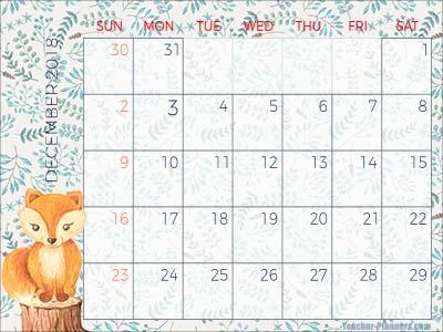 Downloadable Calendar December 2018 Idas Ponderresearch Co