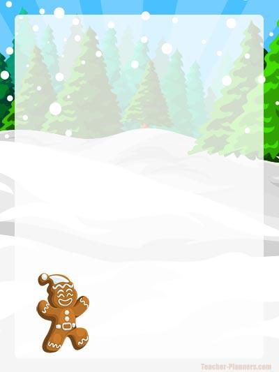 Free Christmas Writing Paper - Gingerbread Man