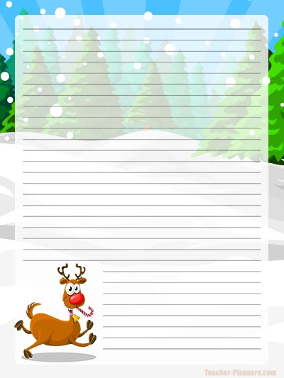 Christmas Writing Paper - Cute Reindeer