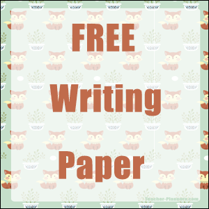 Free writing paper cute foxes