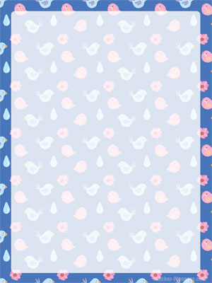 Printable Unlined Paper with Cute Birds