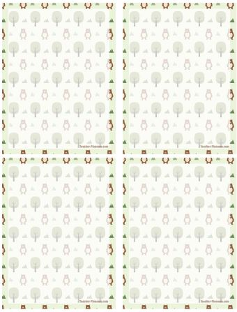 Printable Notepaper - Bears in a Forest