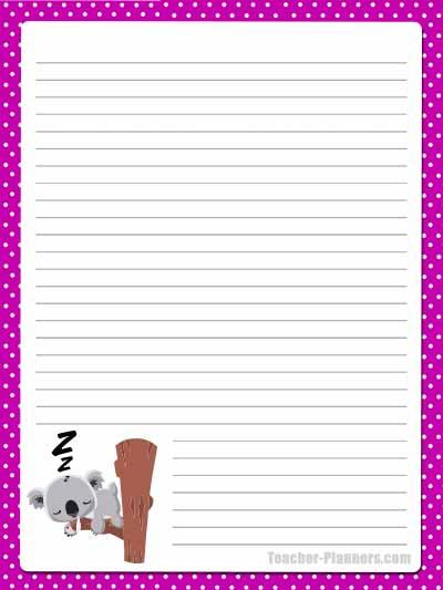 Cute Australian Animals Stationery - Lined 13