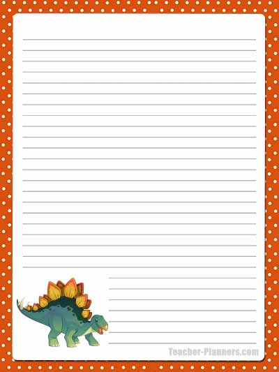 Cute Dinosaur Stationery - Lined 12