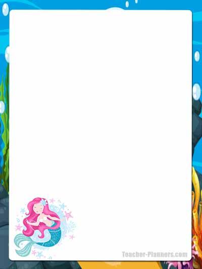 Cute Mermaid Stationery - Unlined 10