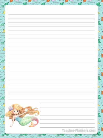 Cute Mermaid Stationery - Lined 11
