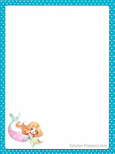 Cute Mermaid Stationery - Unlined 12
