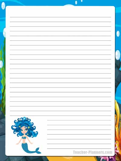 Cute Mermaid Stationery - Lined 4