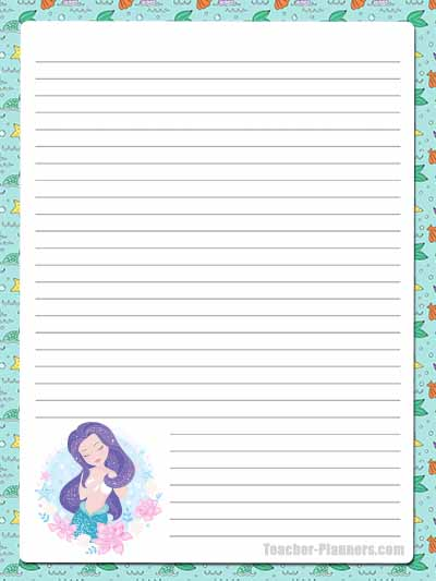 Cute Mermaid Stationery - Lined 5