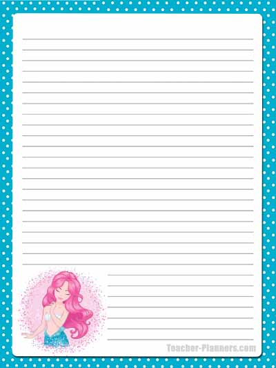 Cute Mermaid Stationery - Lined 6