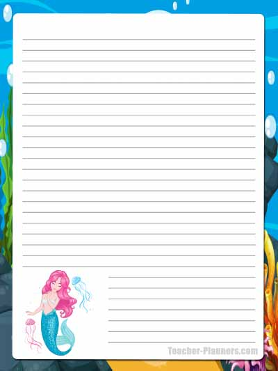 Cute Mermaid Stationery - Lined 7