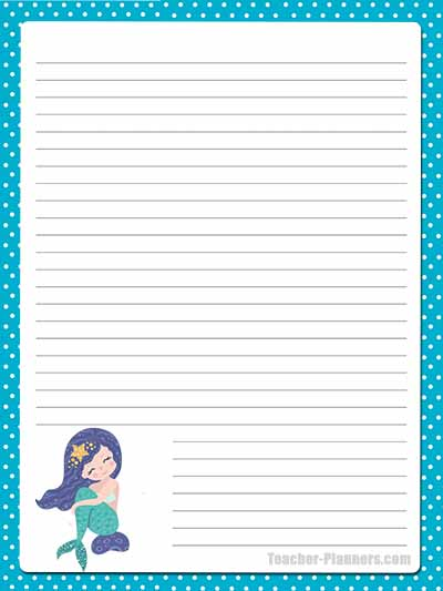 Cute Mermaid Stationery - Lined 9