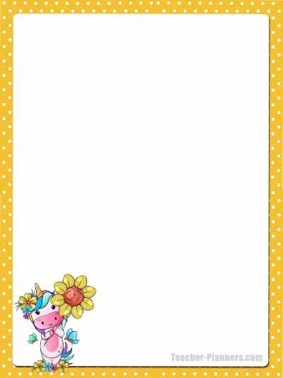 Cute Unicorn Stationery - Unlined 1