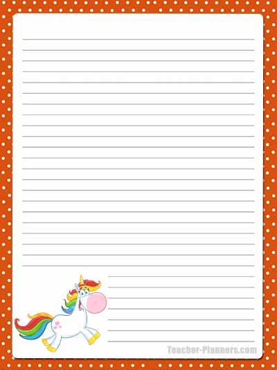 Cute Unicorn Stationery - Lined 10