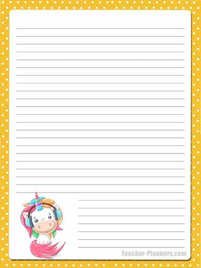 Cute Unicorn Stationery - Lined 11