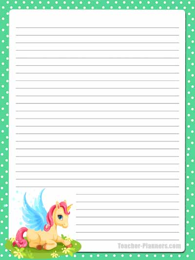 Cute Unicorn Stationery - Lined 12