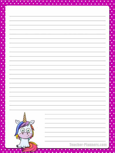 Cute Unicorn Stationery - Lined 2