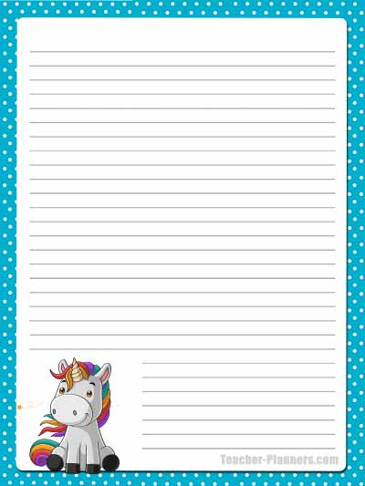 Cute Unicorn Stationery - Lined 3