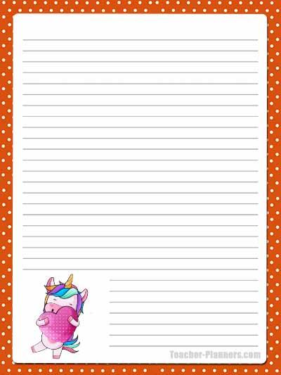 Cute Unicorn Stationery - Lined 4