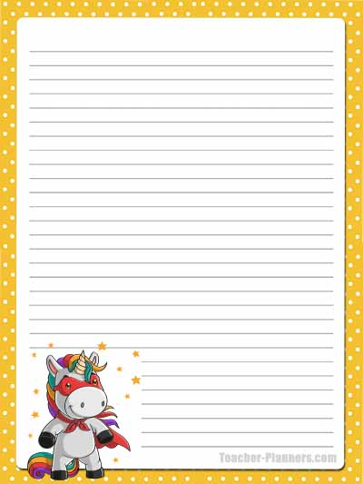Cute Unicorn Stationery - Lined 5