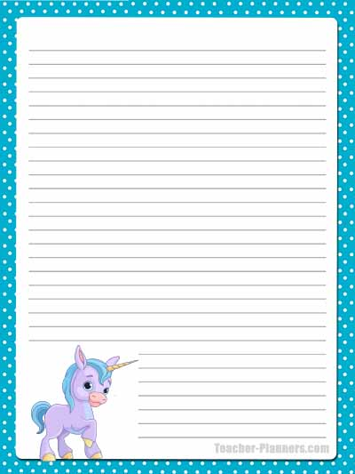 Cute Unicorn Stationery - Lined 9
